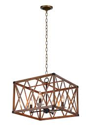 4 light chandelier with wood grain brown finish