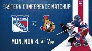 Senators Hockey Seating Chart Rangers Vs Senators