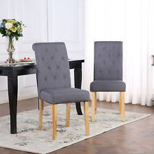 2 x deluxe fabric dining living room chairs scroll high back dark grey