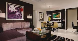 Suite Room Aria Sky Las Vegas Sectional Purple Sofa White Arch Lamp Modern  Graphic Shag