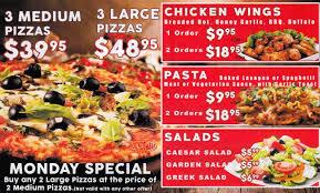 round table pizza menu menu for round