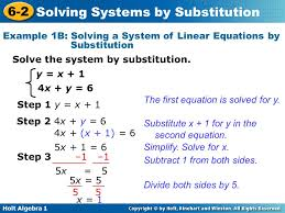 example 1b solving a system of linear equations by substitution