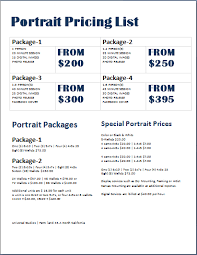 Microsoft Word Price List Photography Price List Template Word Rome Fontanacountryinn Com