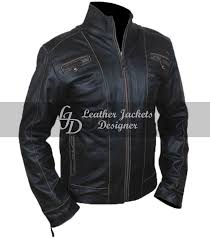 mens black rivet antique motorcycle style casual fitted leather jacket side 2