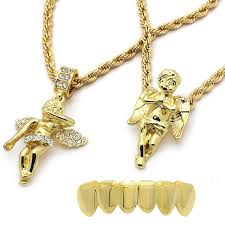 order mens gold plated high fashion bottom grillz w 2 angels pendants set 4mm 30 and 24 rope chains 1 11656