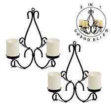 giveu 3 in 1 lighting chandelier metal wall sconce set of 2 table centerpiece for indoor or outdoor candles included black