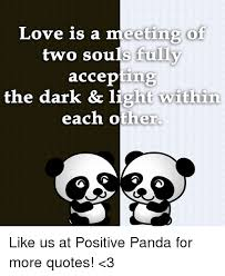 Quotes About Pandas Magnificent Love Is A Meeting Of Two Souls Fully Accepting The Dark Light