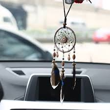 Dream Catcher For Car Mirror Delectable Mini Car Dream Catcher Beaded Natural Feathers Handcraft Chic