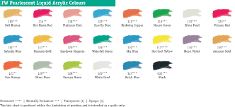 Fw Inks Colour Chart Fw Pearlescent Ink Daler Rowney