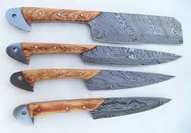 Custom Handmade Twist Damascus Steel Kitchen Knives Set U2022 KBS Damascus Steel Kitchen Knives