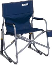 cool aluminum blue fabric outdoor folding rocking chair freestyle design with drink holder and supportive arms