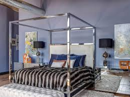 Purple Loft Bedroom With Canopy Bed | HGTV