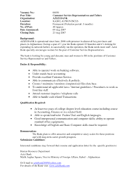 customer service for banks resume