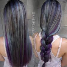 gray brown and purple long hair