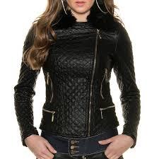 Women's Faux Fur Leather Look Jacket Quilted Biker KouCla - Black ... & KouCla Faux Fur Leather Quilted Biker Jacket - Black Adamdwight.com