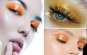 sunkissed eye makeup inspired by the beautiful glow from sun rays this look features warm orange and yellow in a waxy finish our tip to nail the glossy