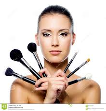 royalty free stock photo beautiful woman with makeup brushes