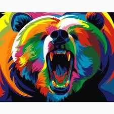 Rainbow Bear Mini From Artventura Paint By Numbers Kits Casa