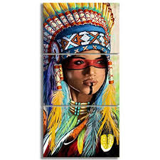 kalawa native american girl feathered women modern home wall decor canvas artworks picture art hd print painting on canvas 3 piece framed ready to hang