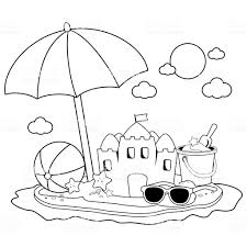 Zomer Vakantie Eiland Met Strandparaplu Een Zandkasteel En Andere