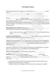 Pet Sitting Instruction Template Free Pet Sitting Service Contract