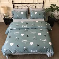 lovely cat dark green bedding set cotton bed sheet set duvet cover pillowcase soft queen king bedclothes for kids duvets on comforters king from