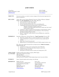 Entry Level Project Manager Resume New Project Finance Manager