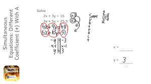 simultaneous equations diffe coefficient with a decimal answer grade 6 gcse maths