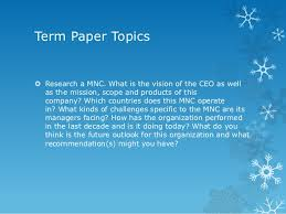 orientation and overview of international business 9 term paper topics research