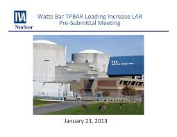 01/23/13 Slides for Meeting with Tennessee Valley Authority re: TPBAR  Loading Increase LAR Pre&#8208, Submittal Meeting Watt