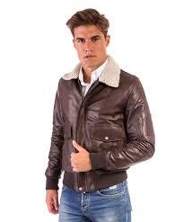 aviator dark brown colour lamb leather er jacket shearling collar