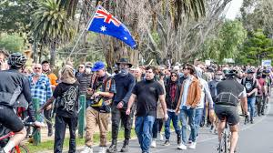 Protesters seen chanting 'freedom' and hurling abuse at police and media while not wearing masks. Melbourne Protests Anti Lockdown Protests Weekly In Secret Location Herald Sun