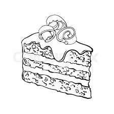 slice of cake clip art black and white.  And Black And White Hand Drawn Piece Of Layered Chocolate Cake With Icing  Shavings Sketch Style Vector Illustration Isolated On Background Throughout Slice Of Cake Clip Art And White C