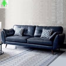 nordic black leather sofa living room