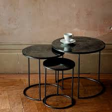 contemporary nesting tables glass steel round moon