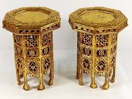 Asian Display Stands Vintage Matching Pair Octagonal Golden Hand Carved Asian Curios 38