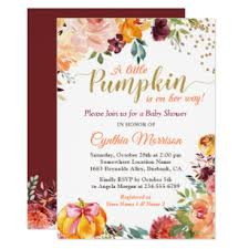 Fall Invitation Little Pumpkin On Her Way Fall Floral Baby Shower Invitation