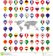 Pins For Maps World Flags On Map Pins Stock Vector Illustration Of