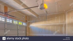 interior view of a garage under construction stock image