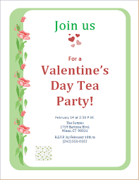 valentines party invitations valentines day tea party invitation template word excel templates