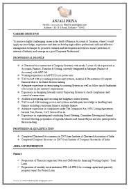 Chartered Accountant Resume Format Resume Template Easy Http