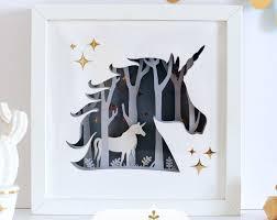 unicorn 3d diy shadow box 3d