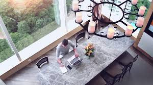 huge office desk. Top View Of Man At Big Office Desk. Clean Working Space Huge Table Businessman Writing Something To Notebook And Answer The Call By Phone. Desk T