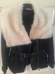 river island black belted white faux fur jacket