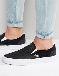 vans slip on checkerboard leather sneakers in black v004mpjrk
