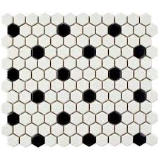Creativity Black And White Tile Floor Metro Hex Matte With Intended Models Design