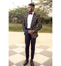 Patterned Tuxedo Delectable Big Ben Kilani Black And Gold Patterned Tuxedo And SlimFit Pants