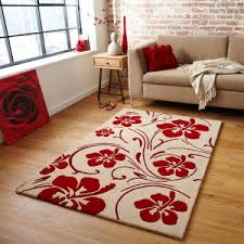Zoning With Large Rugs Land Of. Modern Tulip Red Area Rug Beige ...