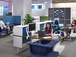office pics. People Working At Computers In A Hive Setting Furnished With Public Office Landscape Blue And Pics
