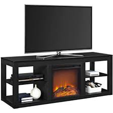 details about tv stand entertainment media console cabinet with realistic electric fireplace w